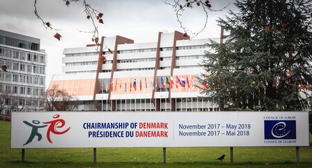 Strasbourg, France - December 28, 2017: in front of the Council of Europe, a sign indicates the presidency of Denmark from November 2017 to May 2018