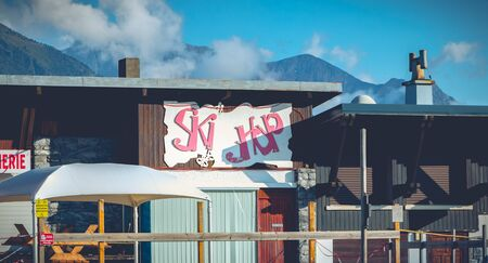 Saint Lary, France - August 20, 2018: Ski shop closed in the ski resort Pla d Adet on a summer day