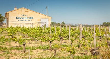 Saint Emilion, France - May 26, 2017: Chateau Godeau Ducarpe vineyard on a spring day, a grand cru wine from Saint Emilion