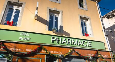 Marseillan, France - December 30, 2018: front of a pharmacy in the city center on a winter day Foto de archivo - 128464609
