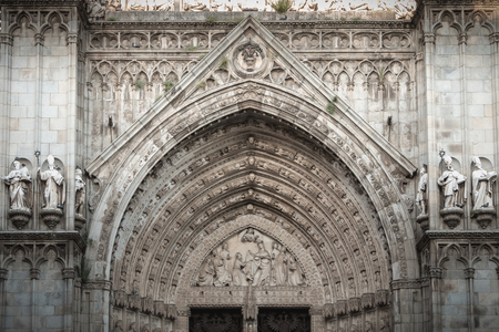 architectural detail of the Cathedral of St. Mary of Toledo in Spain