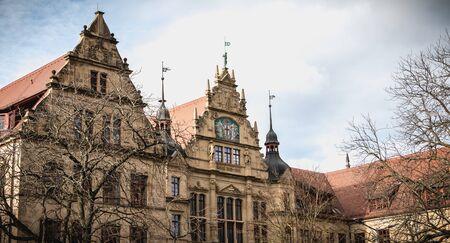 Freiburg im Breisgau, Germany - December 31, 2017: Architectural detail of the educational institution Gertrud Luckner Gewerbeschule on a winter day Redakční