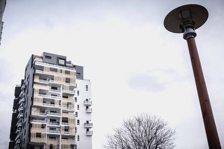 Issy les Moulineaux near Paris, France - January 24, 2018: architectural detail of a modern building recently built in the suburbs of Paris on a winter day Editorial