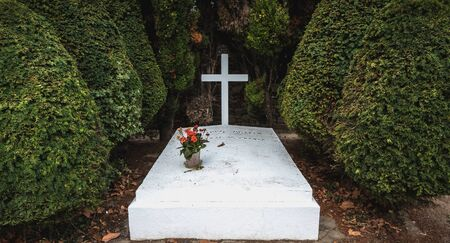 Port Joinville on the island of Yeu, France - September 18, 2018 - Philippe Petain Marechal de France in French written on the grave where he is buried in the communal cemetery on a summer day