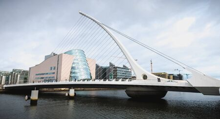 Dublin, Ireland - February 12, 2019: architectural detail of the Samuel Beckett Bridge built by architect Santiago Calatrava Valls, connecting Macken Street to the south of the Liffey River on a winter day