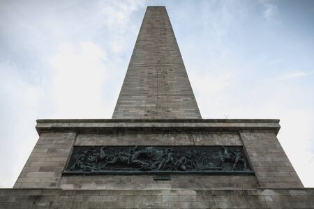 Architectural detail of the Wellington Testimonial obelisk in the Phoenix Park of Dublin, Ireland on a winter day Archivio Fotografico