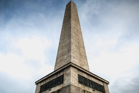 Architectural detail of the Wellington Testimonial obelisk in the Phoenix Park of Dublin, Ireland on a winter day Stock Photo - 130118916