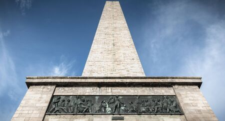 Architectural detail of the Wellington Testimonial obelisk in the Phoenix Park of Dublin, Ireland on a winter day Stock Photo - 130118936