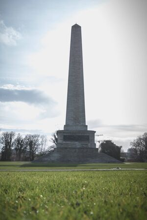 Architectural detail of the Wellington Testimonial obelisk in the Phoenix Park of Dublin, Ireland on a winter day Stock Photo - 130122880