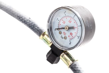 close up tire pressure gauge in the studio on a white background