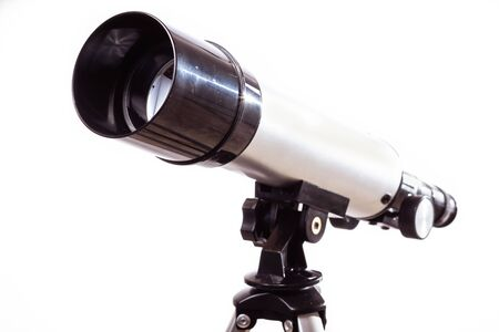 telescope on a white background laid on a rough wooden board Stok Fotoğraf