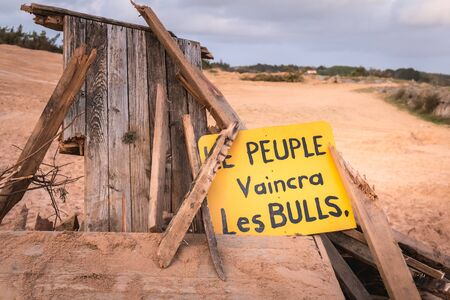 Bretignolles sur Mer, France - October 9, 2019: The People will defeat the buldozer in French on a protest zone in a ZAD (Acronym of Zone to Defend) against the construction of the boat harbor