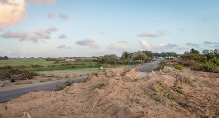 Bretignolles sur Mer, France - October 9, 2019: view of a nature transformed by the passage of buldozer in a zone of protest ZAD (Acronym of Zone to Defend) against the construction of the port