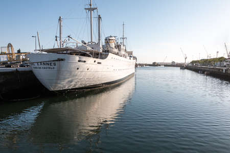 Viana Do Castelo, Portugal - May 10, 2018: View of the Gil Eannes, former hospital ship, now transformed into a museum and youth hostel. it is moored in persmanence in the city port