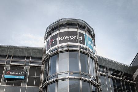 Dublin, Ireland, February 12, 2019: facade of Cineworld Complex in Dublin city center on a winter day Sajtókép