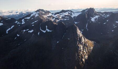 Views of Lofoten from the plane, in Norway Stok Fotoğraf