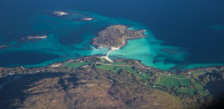 Views of Lofoten from the plane, in Norway 写真素材