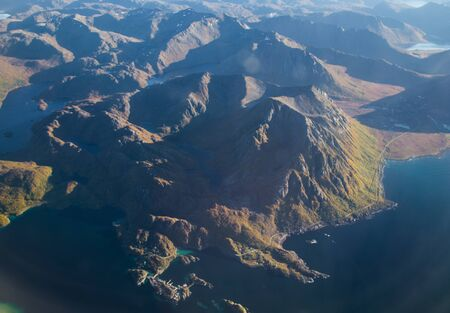 Views of Lofoten from the plane, in Norway Stock Photo