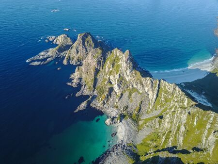 Drone views from Mount Matind near Bleik, in Norway