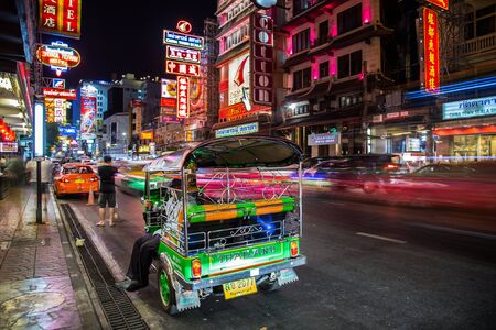 Tuk Tuk night views in Chinatown, Bangkok, Thailand