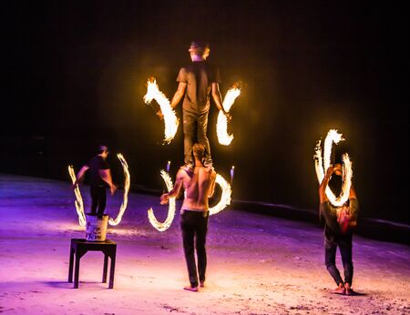 Fire show on the beach in Koh Samui in Thailand 写真素材