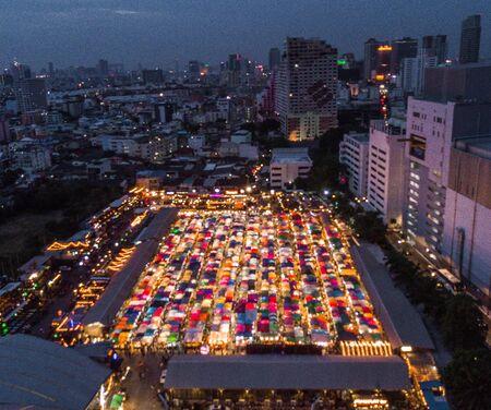 Rotfai Market view from above, in Bangkok Thailand