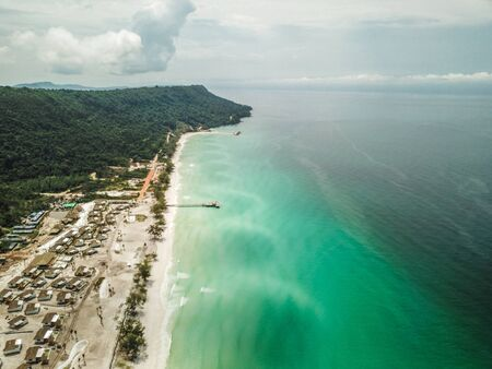 Koh Rong island from above, beach and sunset, in Cambodia Sihanoukville