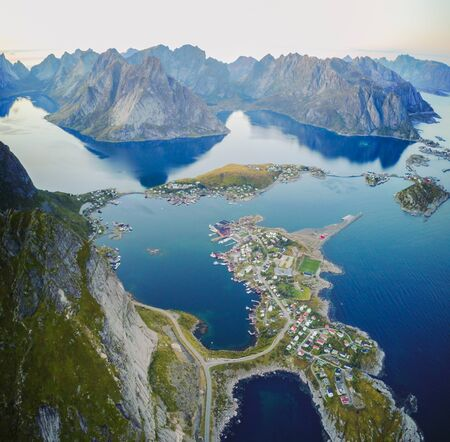Reine views from above, in the Lofoten islands in Norway