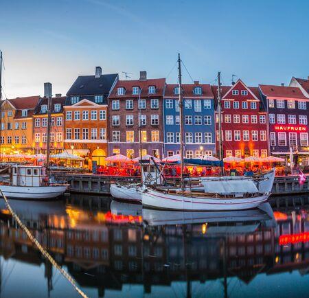 Copenhagen city and canal Nyhavn in Denmark Banco de Imagens