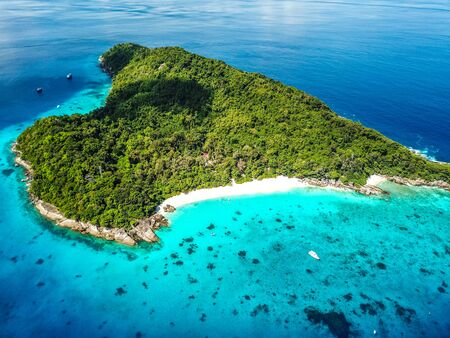 Similan island aerial views from above in Thailand Stock Photo - 132017398