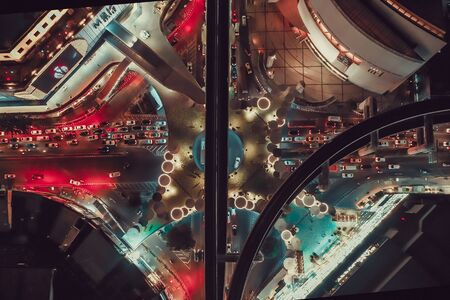 MBK Skywalk view from above in Bangkok Thailand
