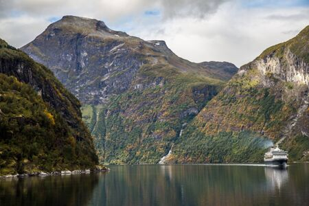 Views of the geiranger fjord from the cruise, in Norway