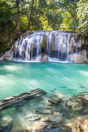 Erawan waterfall views in Kanchanaburi in Thailand Reklamní fotografie
