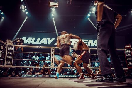 Muay thai fighting in Bangkok in Thailand 写真素材