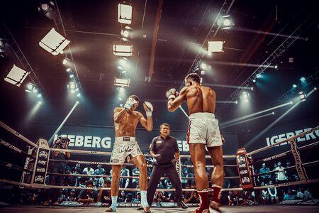 Muay thai fighting in Bangkok in Thailand 免版税图像