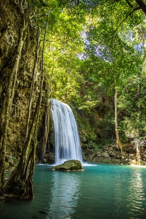 Erawan waterfall views in Kanchanaburi in Thailand