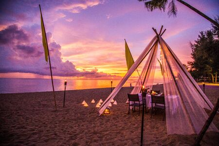 Khao Lak beach resort views at sunset, in Thailand