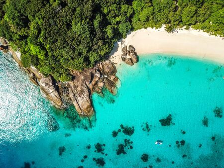 Similan island aerial views from above in Thailand Stock Photo