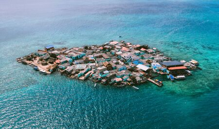 Aerial view of Santa Cruz del islote the most populated island in the world
