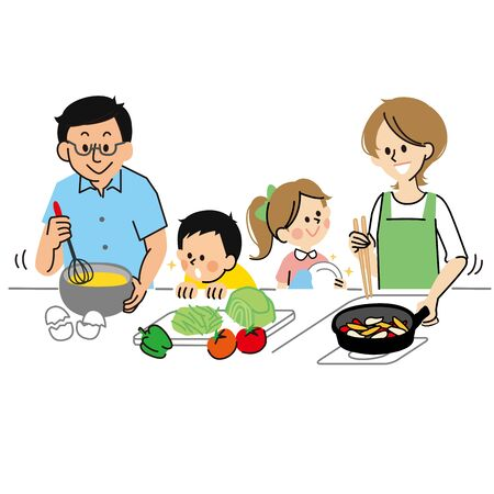 A family of four cooking