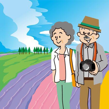 An elderly couple traveling in Furano, Hokkaido Illustration