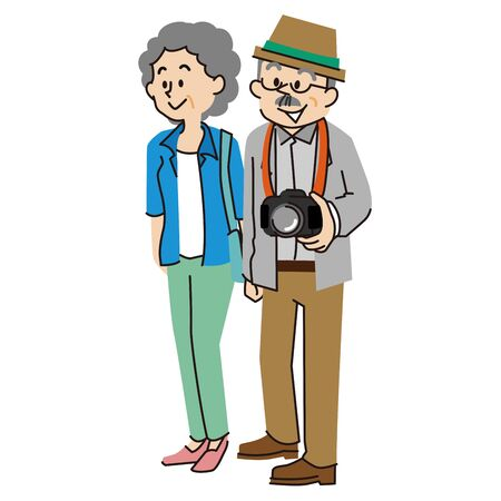 An old couple in casual clothes Illustration