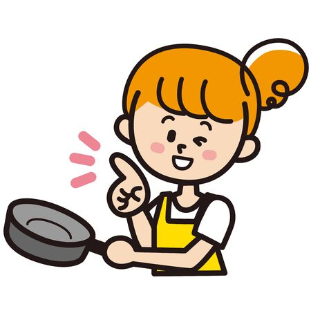 A woman who cooks while winking