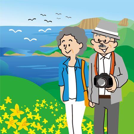 An elderly couple traveling on Rebun Island, Hokkaido