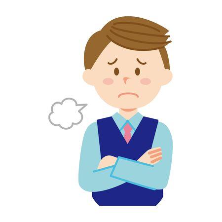 A male company employee who sighs