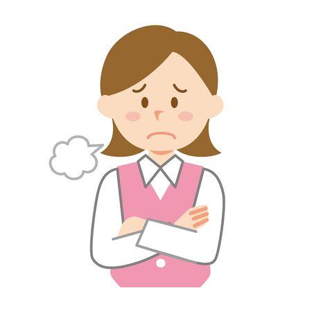 A female employee sighing