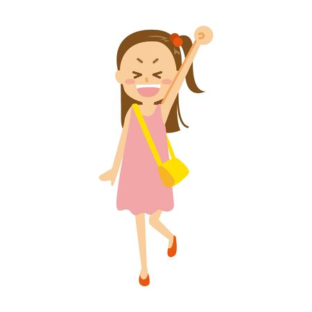 The girl in summer clothes raises arm  イラスト・ベクター素材
