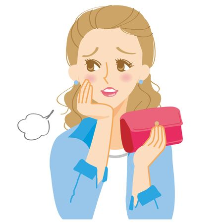 A woman sighing with a purse Illustration