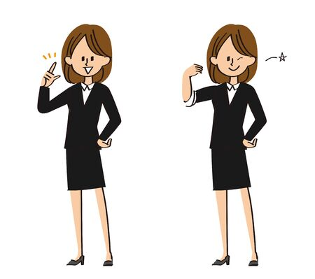 Women in suits pose