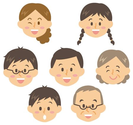 Faces of various generations Illustration